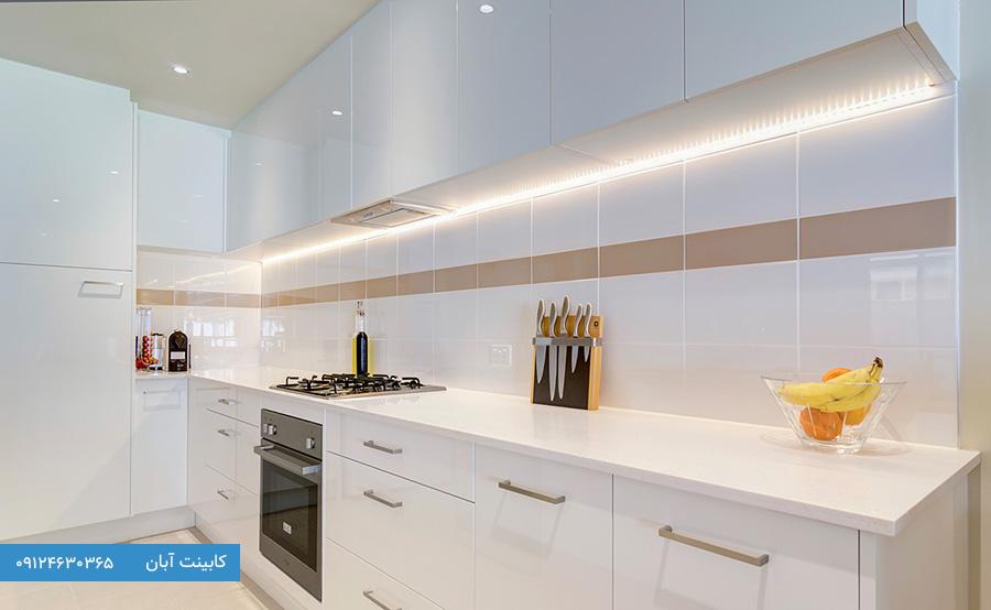 کابینت آشپزخانه ام دی اف سفید طلایی