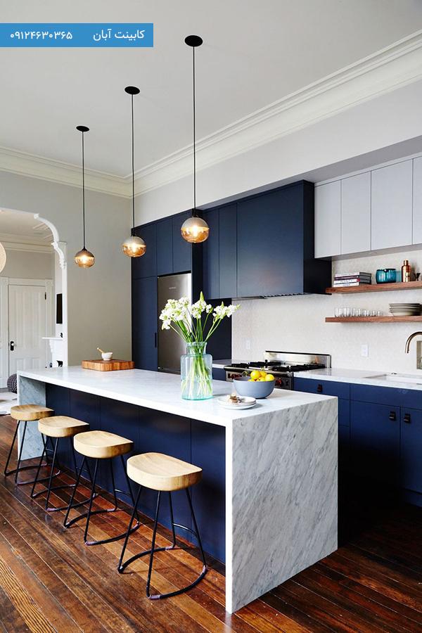 کابینت آشپزخانه مدرن آبی تیره