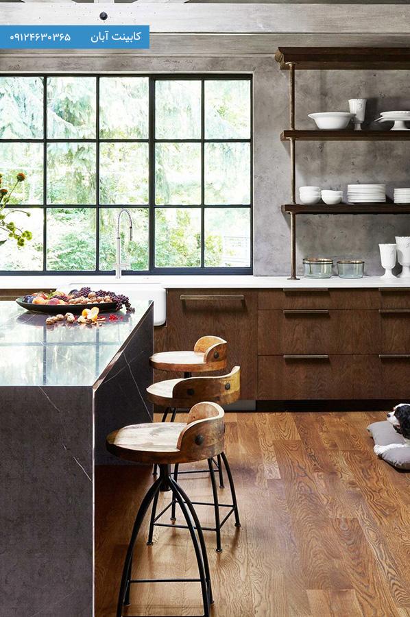 کابینت آشپزخانه مدرن رنگ چوب