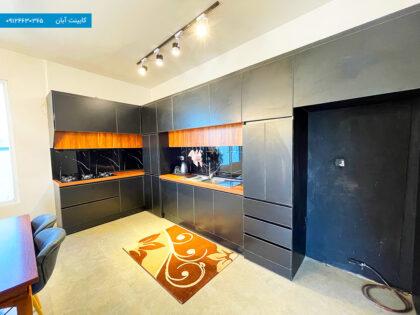 نمونه کابینت آشپزخانه مشکی مات مدرن